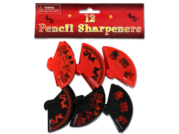 Chinese or Asian fan shaped pencil sharpeners, pack of 12