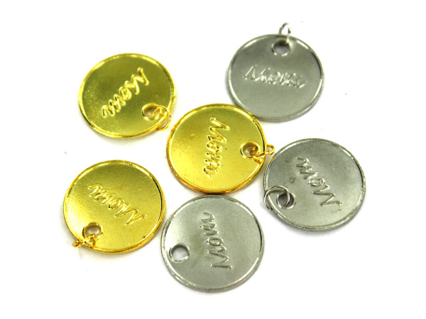 "36 Gold And Silver Engraved ""Mom"" Charms"
