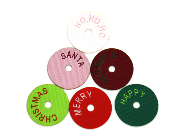Christmas circle washer tags, pack of 12
