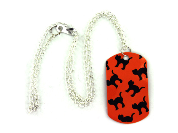 Halloween theme dog tag necklace