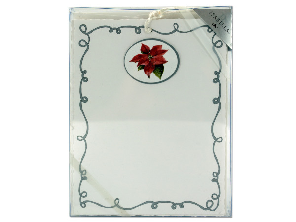 Emb Panel Holiday Cards With Tie-Poinsetta