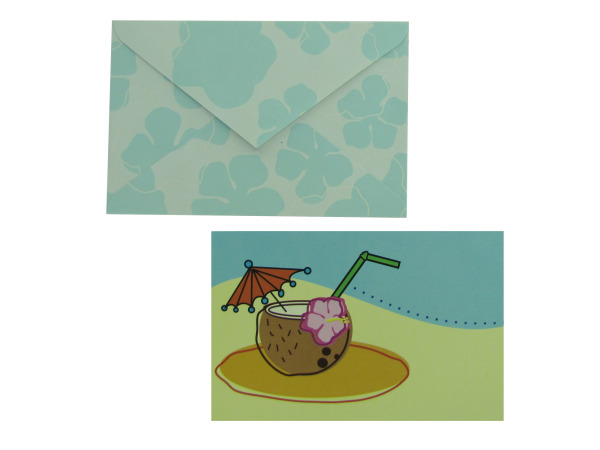 Tropical theme note cards with envelopes