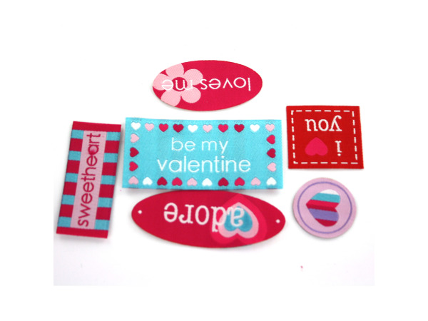 6 piece valentine woven labels assorted styles