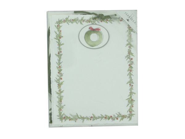 Emb Panel Holiday Cards With Tie-Wreath