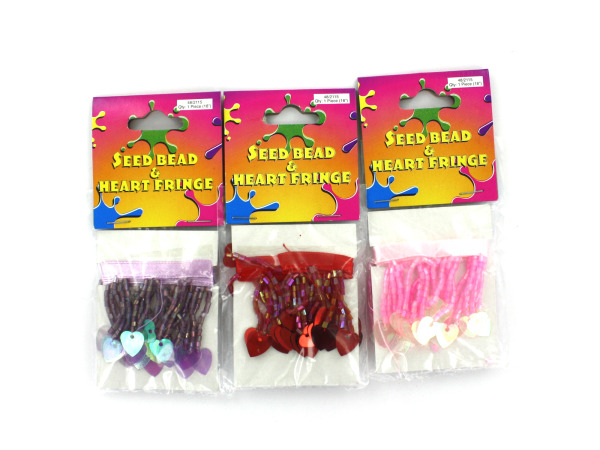 Seed bead and heart fringe, assorted colors