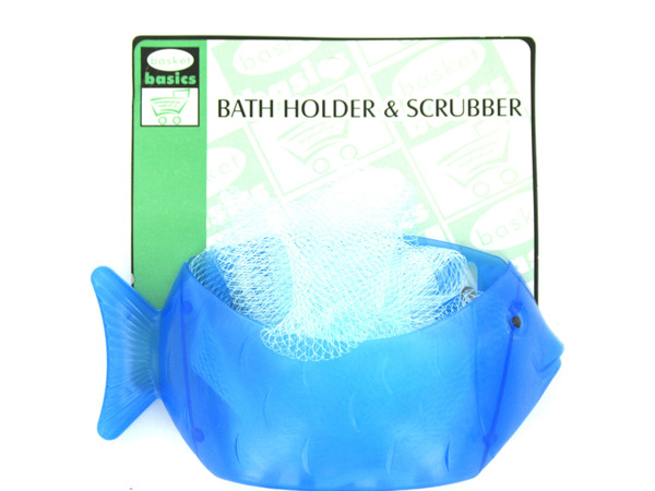 Fish-shaped holder with scrubber included