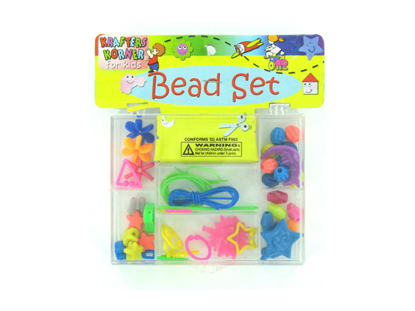 Bead set box with accents and plastic cord