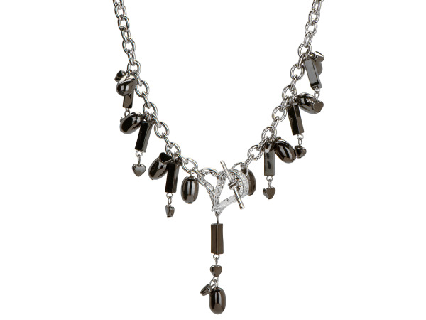 Michele Caruso Black Metallic Bead and Heart Necklace