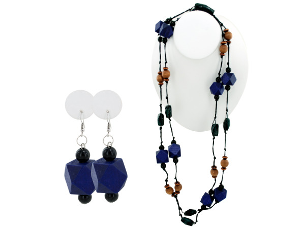 purple wood beaded necklace and earring set
