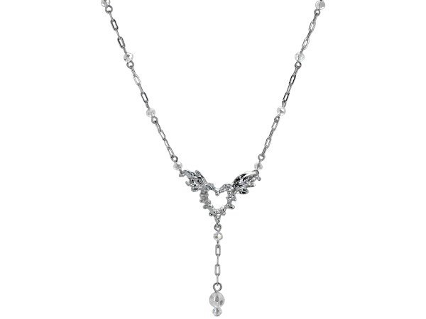 Michele Caruso Spiked Heart With Wings Open Link Necklace