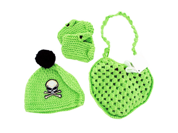 Green Knit Bag with Booties, Beanie and Mittens