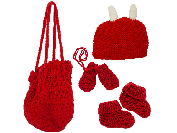 Bag with Beanie, Mittens and Booties
