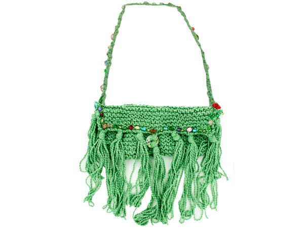 Hand Knit Bag with Colored Bead Lining