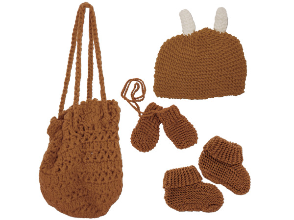 Hand Knit Bag with Booties, Beanie and Mittens
