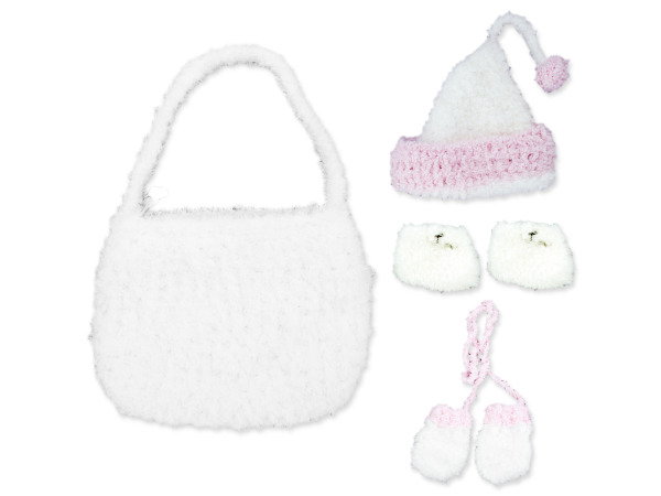 White Hand Knit Bag with Beanie, Hat, Mittens