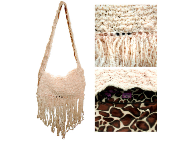Hand Knit Cream Colored Hip Bag