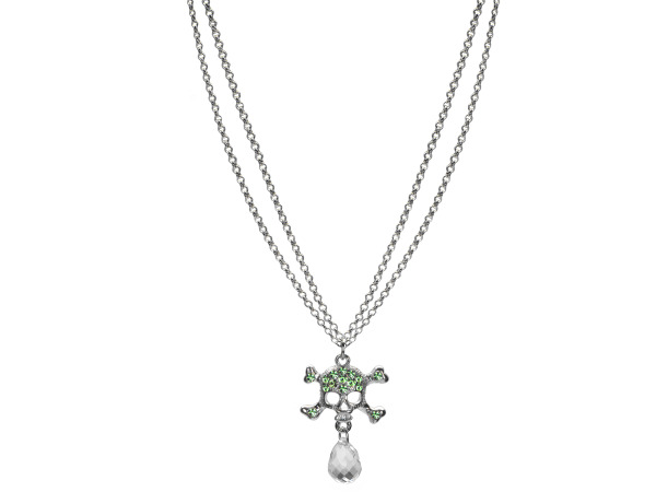 Double Strand Silver tone Rhinestone Skull and Crossbones Necklace