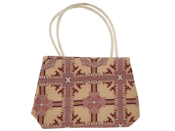 Mini Tapestry Purse with White Handles