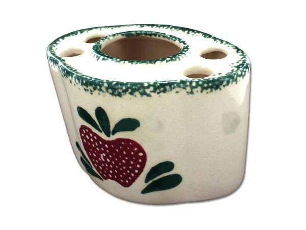 Country design ceramic toothbrush holder, assorted