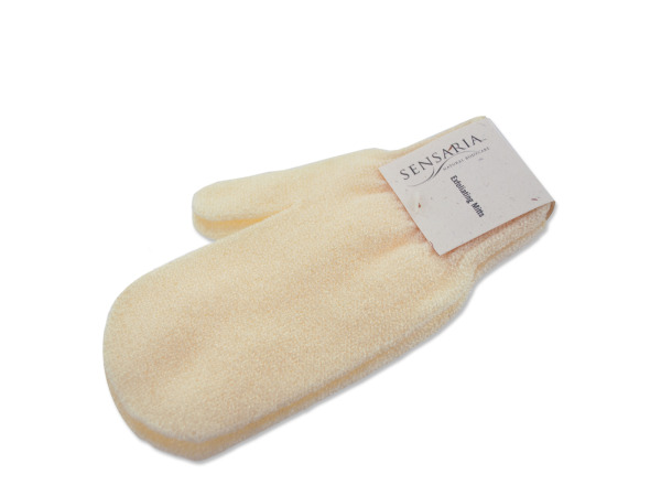 synthetic pair beige wash mitts