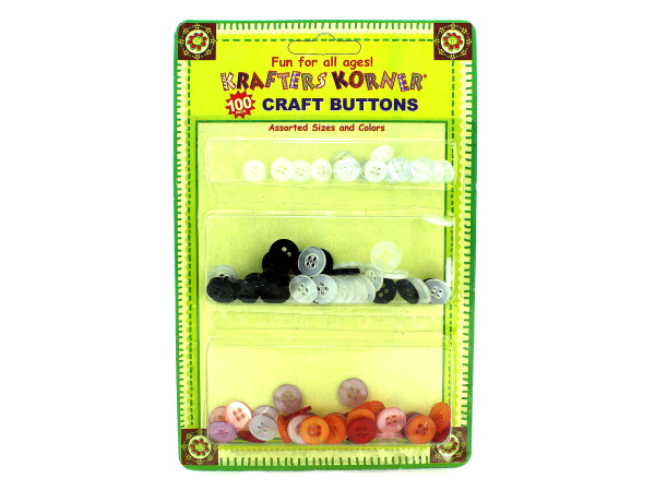 Assorted craft buttons, pack of 100
