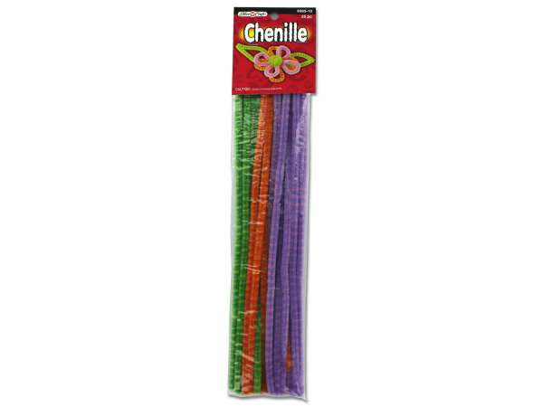 25 pack 6mm 12 inch bright colored chenille craft stems
