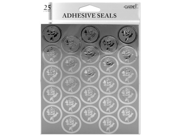 Silver foil rose adhesive seals