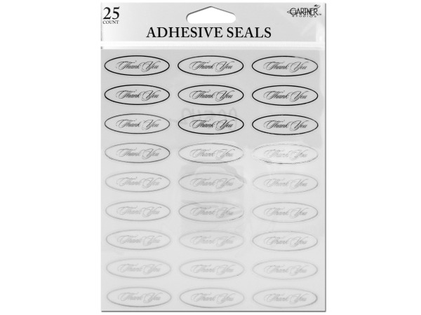 Silver thank you seals with clear adhesive back
