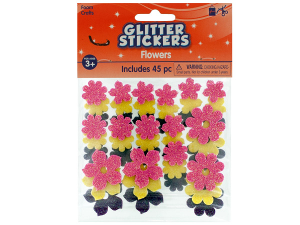 Foam Flowers Glitter Stickers