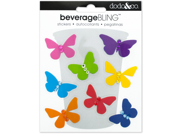 Butterflies Beverage Bling Stickers