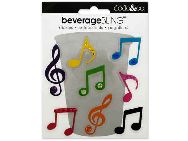 Musical Note Beverage Bling Stickers