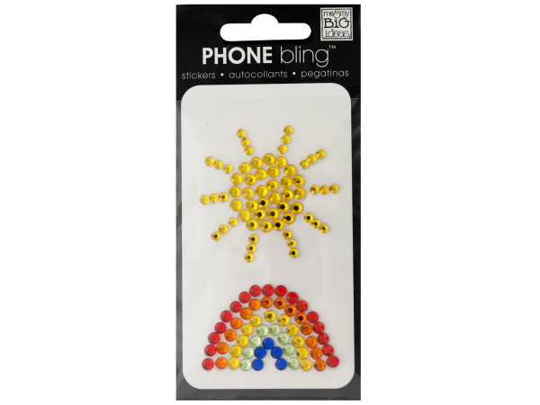 Sun and Rainbow Phone Bling Removable Stickers