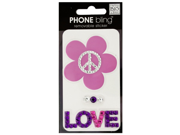 Peace Flower Love Phone Bling Removable Stickers