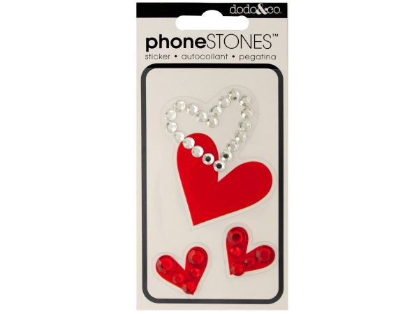 Sparkle Hearts Phone Stones Stickers