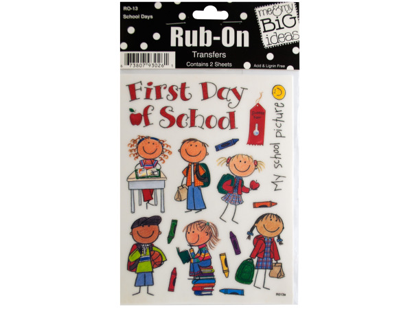 School Days Rub-On Transfers