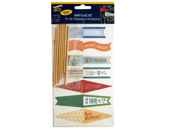 Travel Theme Embossed Mini Flag Kit