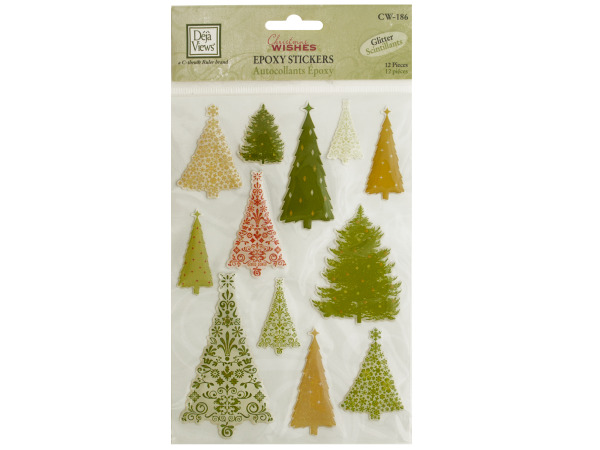 Christmas Trees Glitter Epoxy Stickers