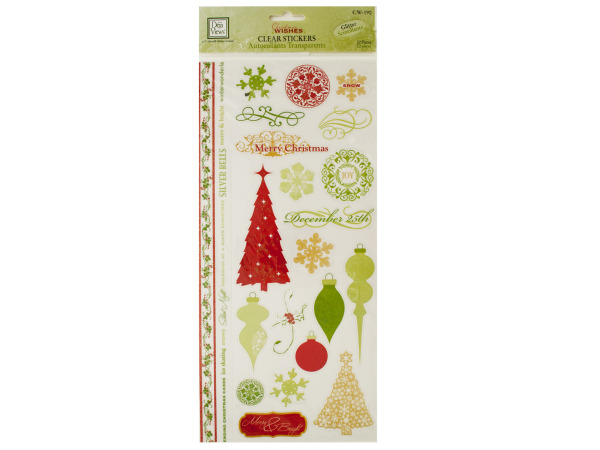 Christmas Wishes Clear Stickers with Glitter Accents