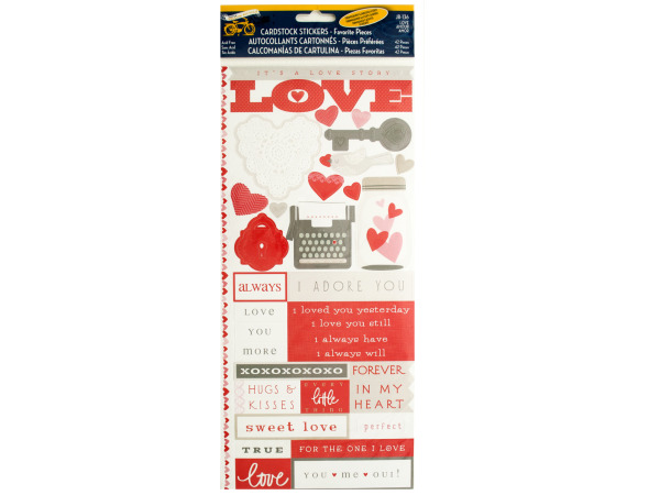 Love Story Cardstock Stickers with Embossed Accents