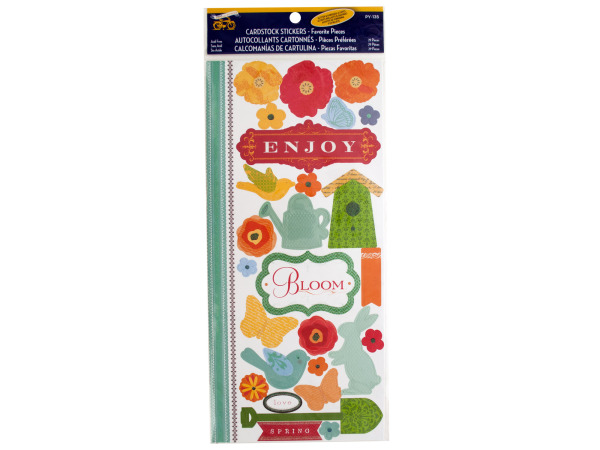 Enjoy Spring Cardstock Stickers with Glitter and Embossed Accents