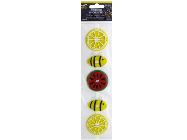 Fruit and Bees Layered Felt Ribbon Sliders