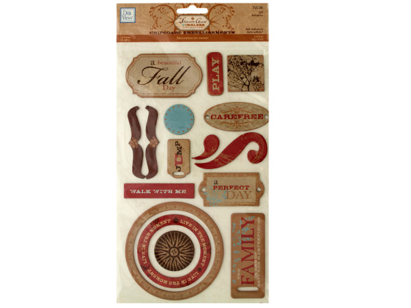 Fall Self-Adhesive Chipboard Embellishments