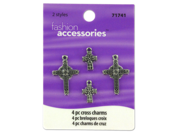 Cross charms, pack of 4