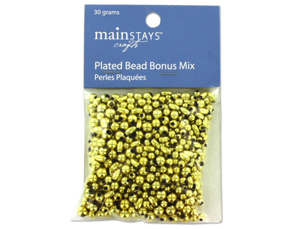 Gold colored plastic beads, 30 grams
