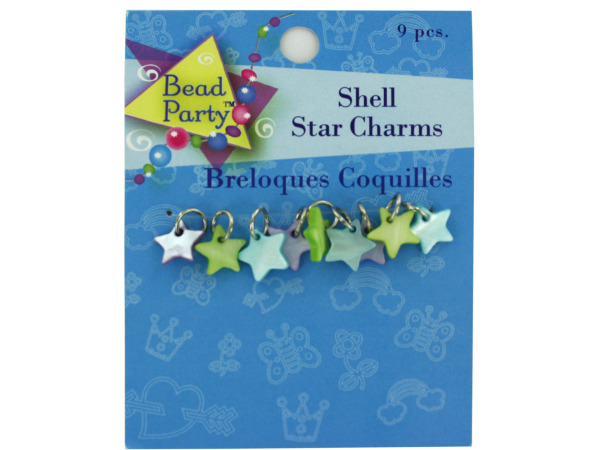 Pastel shell star charms, pack of 9