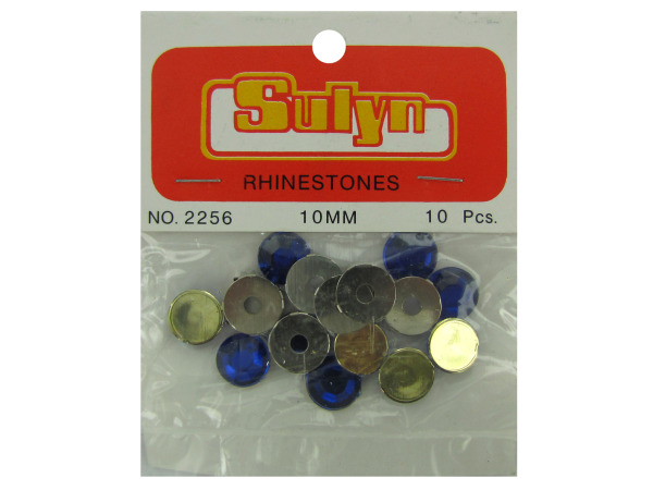 Sapphire colored rhinestones with mounts, pack of 10