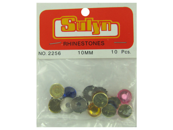 Large rhinestones, multiple colors, pack of 10