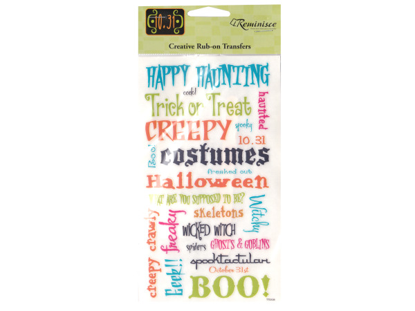 Halloween Phrase Creative Rub-on Transfers