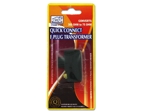 quick connect f plug transformer (convers 300ohm to 75ohm)
