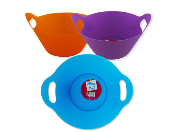 Plastic storage bowl with handle